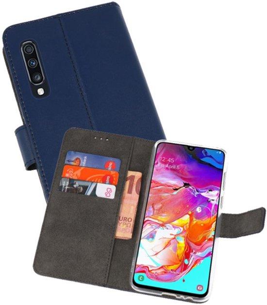 Wallet Cases Hoesje voor Samsung Galaxy A70 Navy