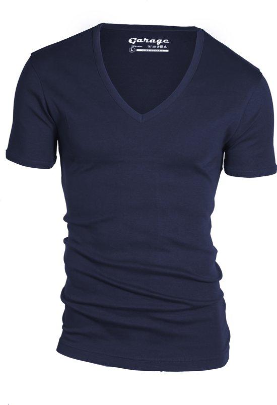 Garage 304 - T-shirt deep V-neck semi bodyfit navy XL 100% cotton 1x1 rib