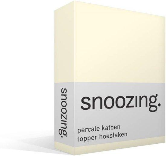 Snoozing - Topper - Hoeslaken - Percale katoen - Eenpersoons - 100x200 cm - Percale katoen - Ivoor