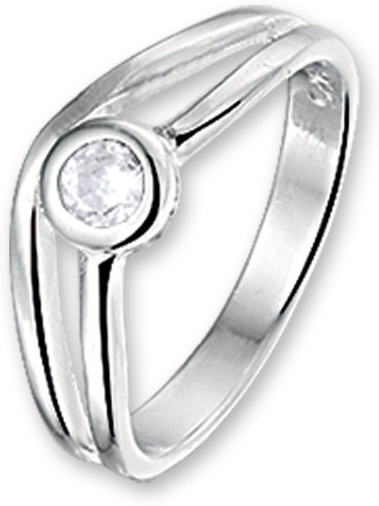 The Kids Jewelry Collection Ring Zirkonia - Zilver Gerhodineerd