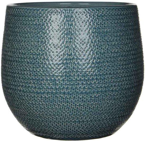 Mica Decorations gabriel ronde pot blauw maat in cm: 25 x 29