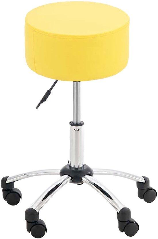 Clp Werkkruk WENEN - in hoogte verstelbaar, dik kussen en draaibaar - geel