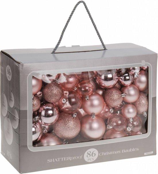 Bol Com 86 Delige Plastic Kerstballen Set Roze