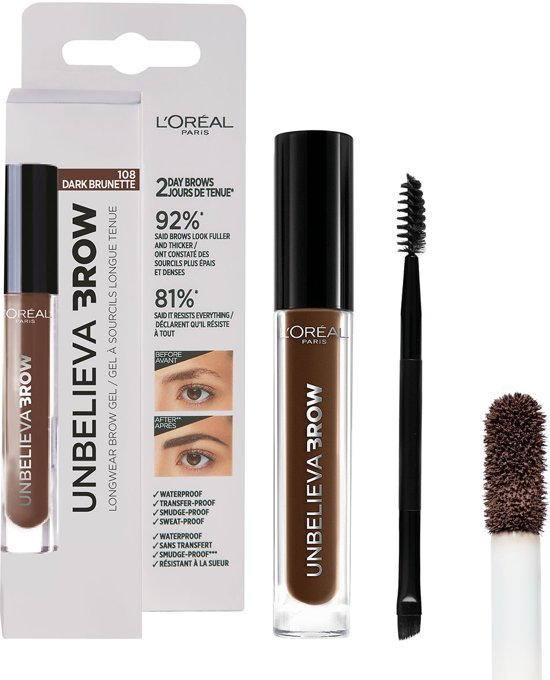 L'Oréal Paris Unbelieva Brow Wenkbrauwgel - 108 Dark Brunette - Bruin - Waterproof - 3.4 ml