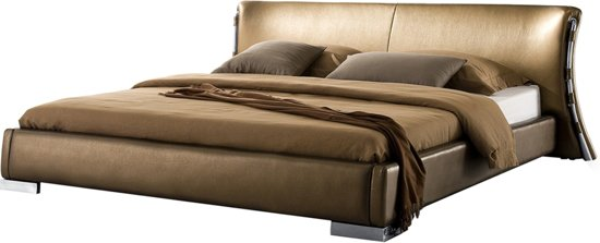bol beliani paris bed leer goud 160x200 cm