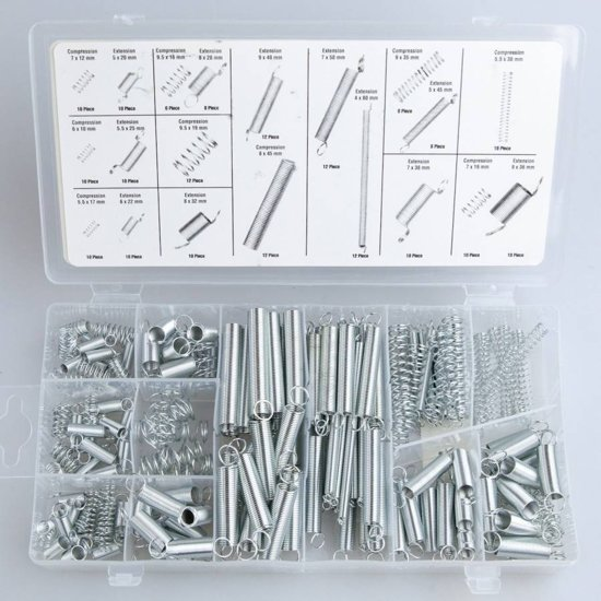 Spanning & drukveer Veren assortiment | Ø4-9,5 mm | lengte 10-79,5 mm | 200 Stuks