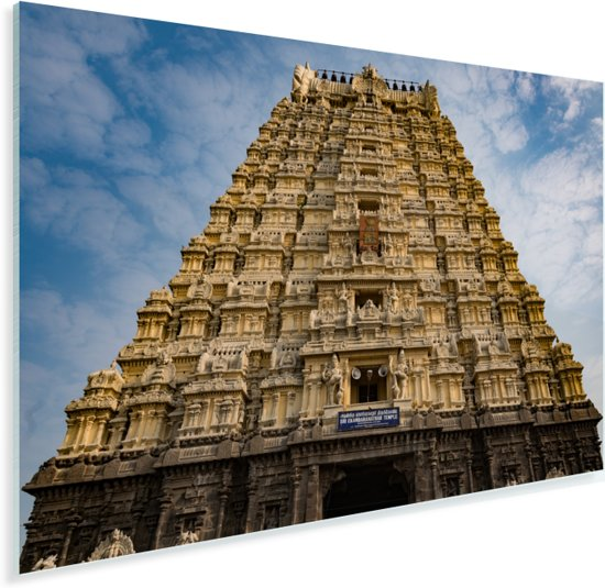 Tempel in Chennai vanaf onderen Plexiglas 90x60 cm - Foto print op Glas (Plexiglas wanddecoratie)