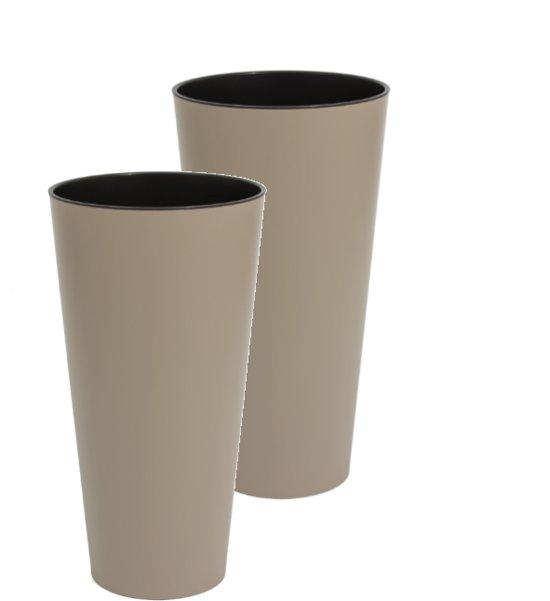 Bloempot Buiten Hoog Rond Tubus Slim 15cm TAUPE Prosperplast / 2 STUKS ! /