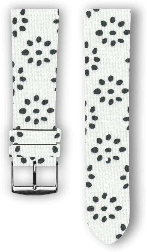 100% katoenen horlogeband met leder (achterzijde) Flowery 24 mm
