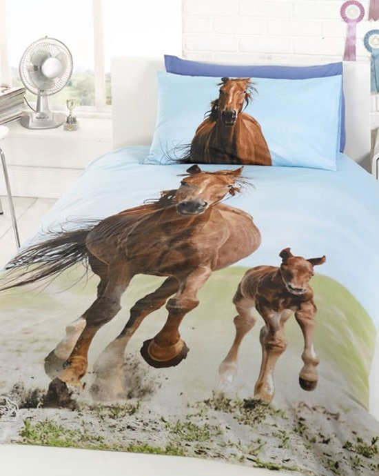 1 persoons dekbedovertrek met paard en veulen