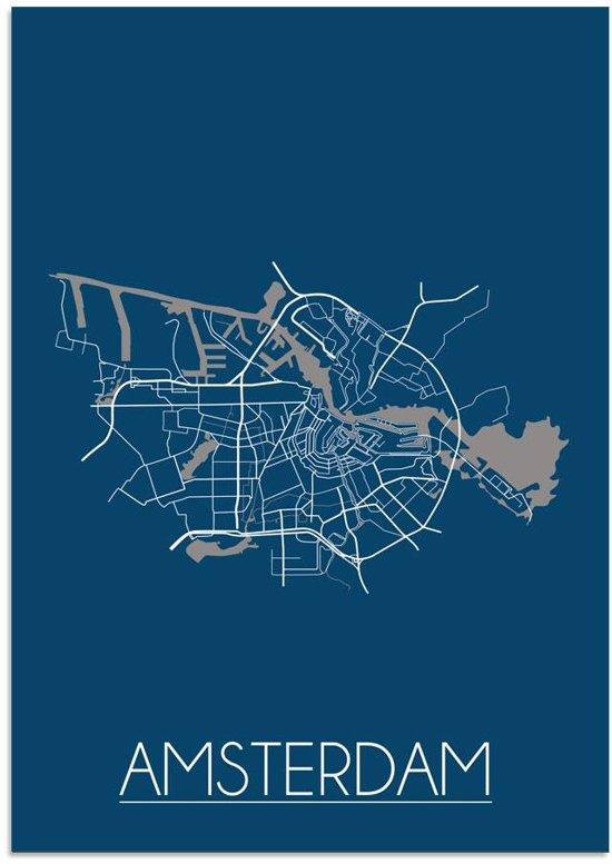 Plattegrond Amsterdam Stadskaart poster DesignClaud - Blauw - A4 + fotolijst zwart