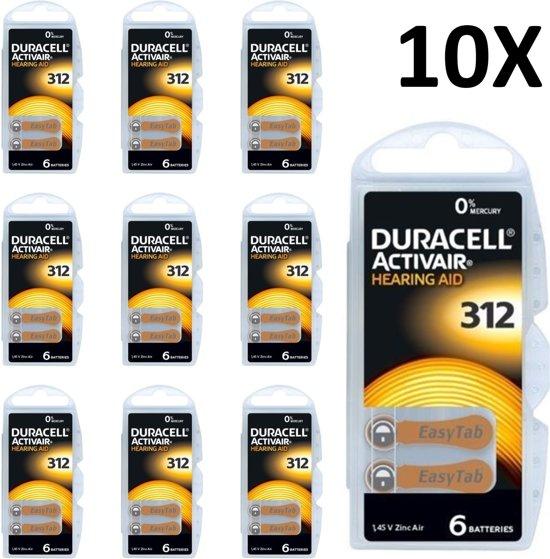 Duracell 312 ActivAir Hoorbatterijen - Bruin - 10x - 60 Stuks