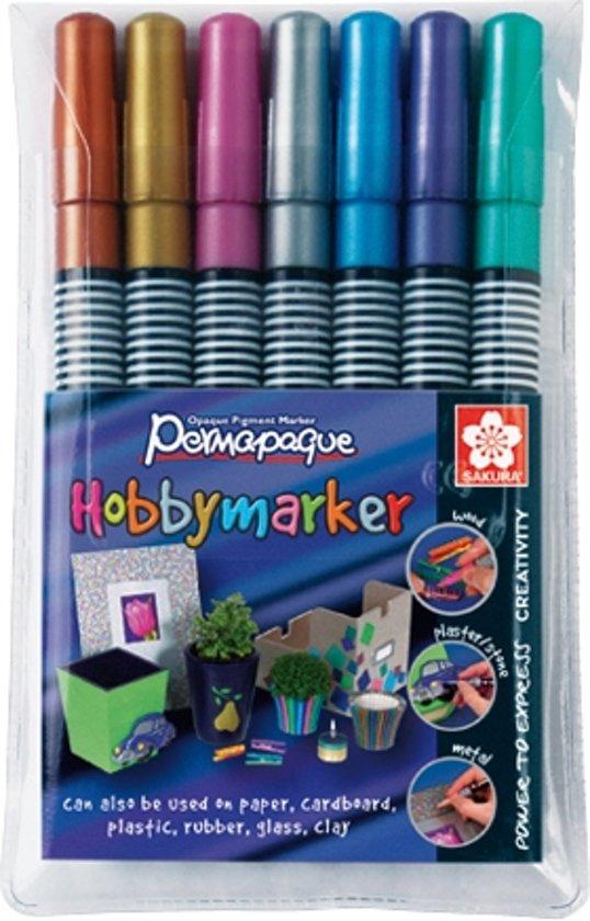 Permapaque hobbymarker set 7 kleuren metallic