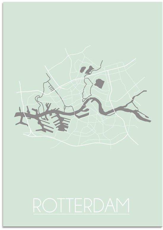 Plattegrond Rotterdam Stadskaart poster DesignClaud - Pastel groen - A3 poster