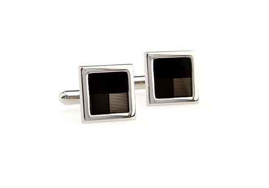 Manchetknopen - Vierkant - Zwart/Zilver kleurig