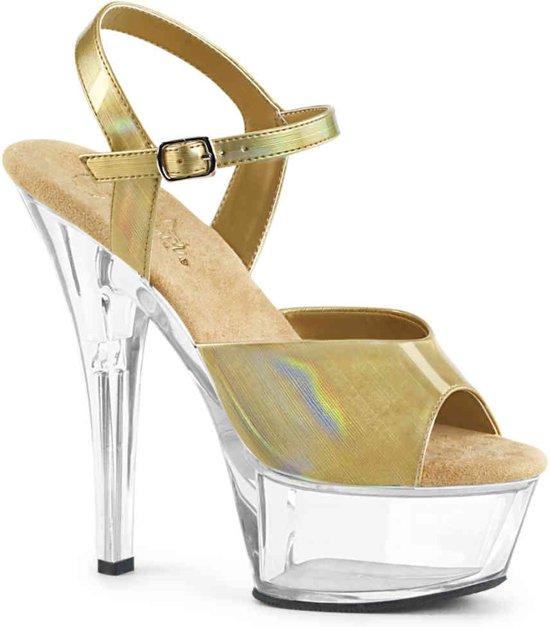 KISS-209BHG (EU 40 = US 10) 6 Heel, 1 3/4 PF Ankle Strap Sandal w/ Brushed Holo