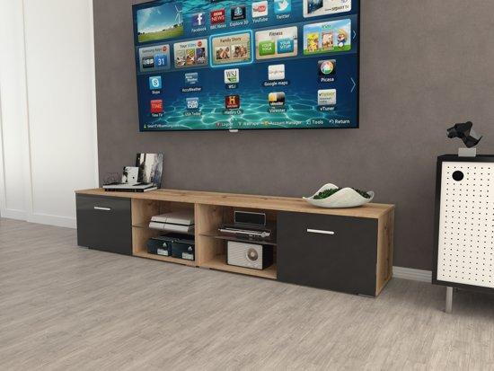 Az Home Tv Kast Tv Meubel Denver Xl 220 Cm Eiken Hoogglans Zwart