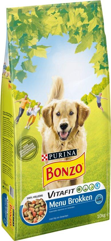 Bonzo Adult Menubrokken - Kip & toegevoegde Groenten - Hondenvoer - 10 kg