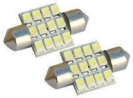 Dome 12 LED C5W SMD Auto Interieur Lamp 31mm WIT