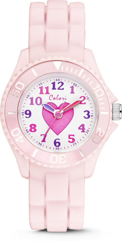 Colori 5-CLK008 - Horloge - Siliconen - Roze - Ø 30 mm