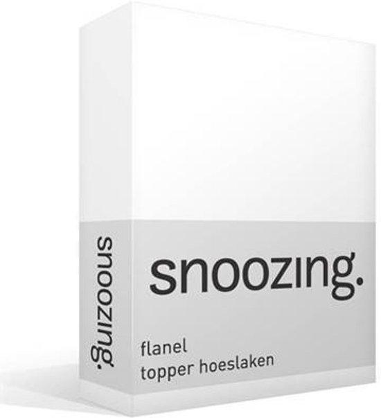 Snoozing - Flanel - Topper - Hoeslaken - Eenpersoons - 70x200 cm - Wit