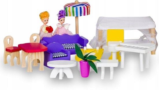 Tootti XXL NEW 118 CM Villa Duo poppenhuis, hout poppenhuis, Hout speelgoedhuis,Droomhuis,Met Gratis Poppen,met krijtbord-functie