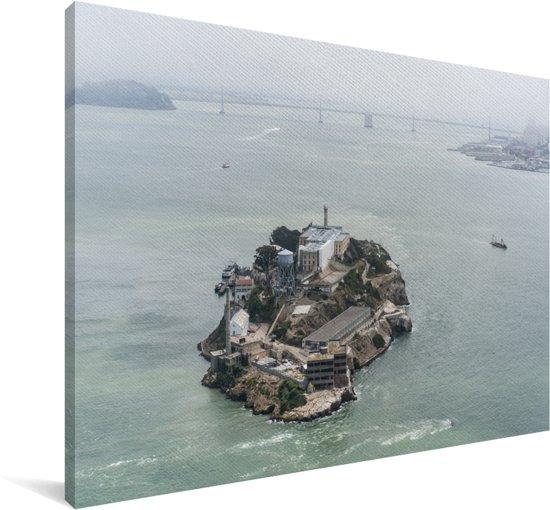 Luchtfoto van het Amerikaanse eiland Alcatraz in de baai van San Francisco Canvas 120x80 cm - Foto print op Canvas schilderij (Wanddecoratie woonkamer / slaapkamer)