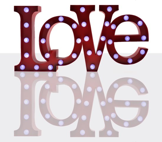 Giggle Beaver Word Lamp Love - Tafellamp - Rood