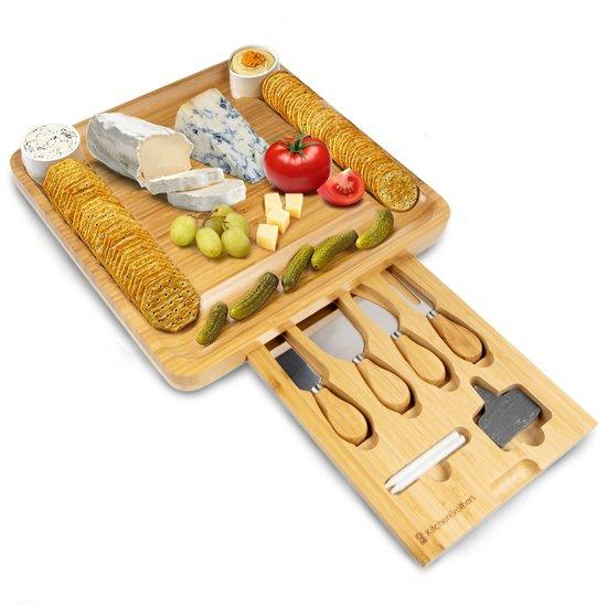 KitchenBrothers Bamboe Kaas Plank met 4-delig Messenset en Schaaltjes - XL Bamboo Tapas Serveer Plank - Hout