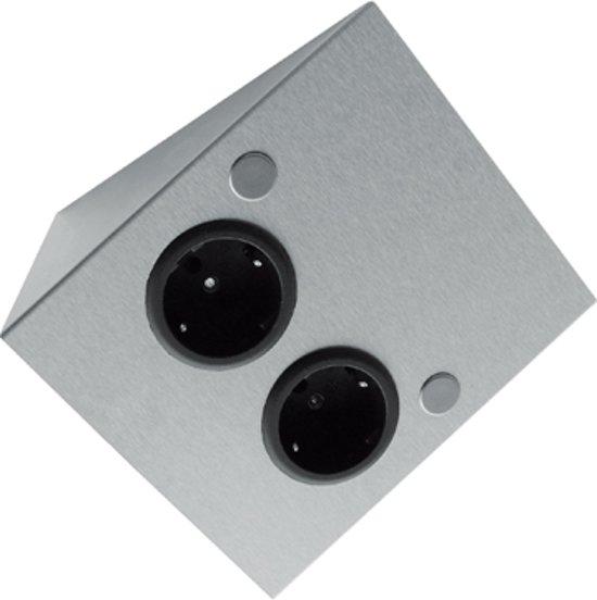 Thebo dubbele contactdoos  - Dubbel Stopcontact - Inox
