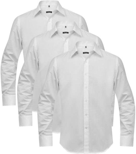 Maat Overhemd Man.Bol Com Vidaxl Overhemden Man Maat L Wit 3 St