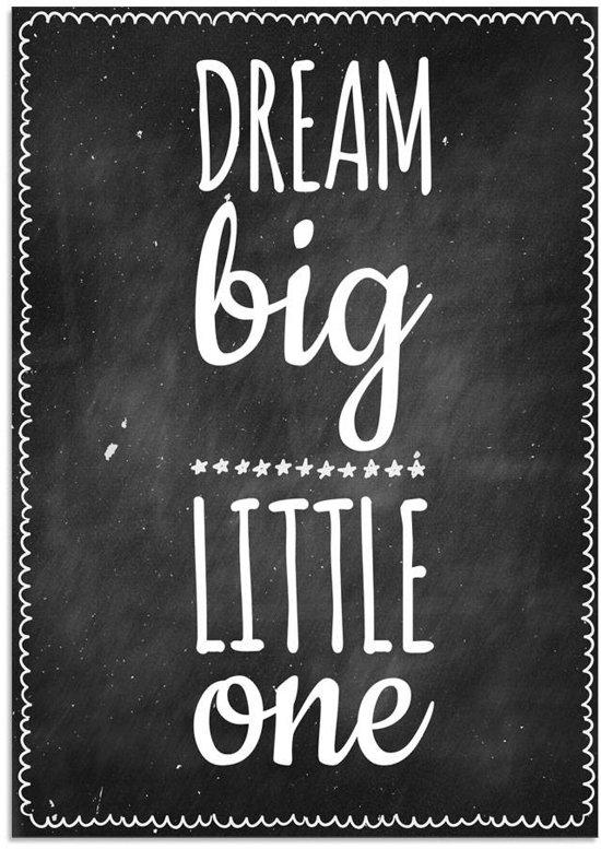 DesignClaud Dream Big Little One - Kinderkamer poster - Babykamer - Decoratie - Zwart A3 poster zonder fotolijst