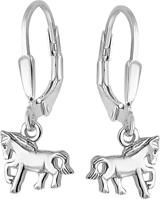 Lucardi Zilveren Kinderoorbellen - Paard