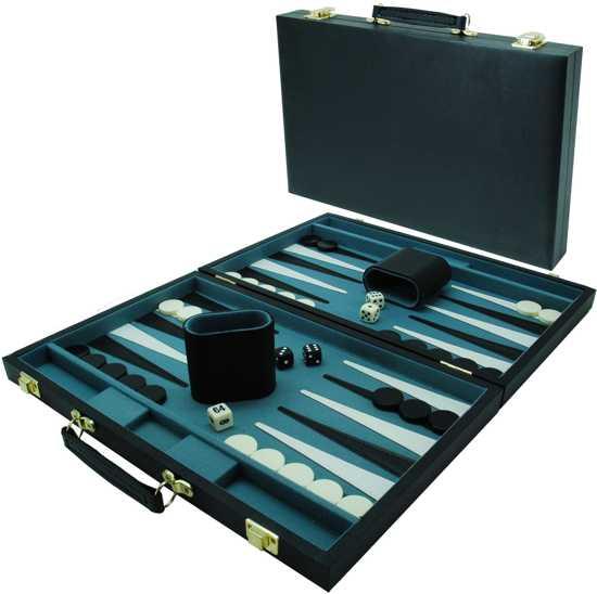Afbeelding van het spel Backgammonkoffer 38 cm. Zwart effen HOT Games