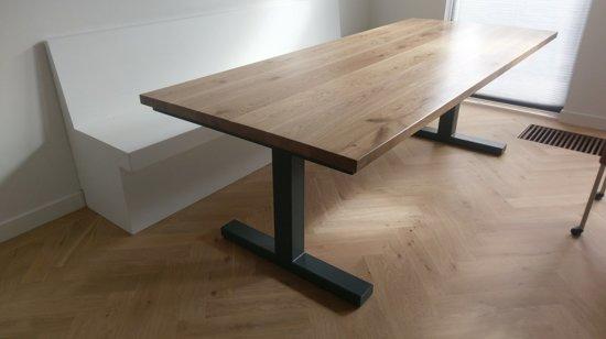 Moderne Eikenhouten Eettafel.Bol Com Industriele Tafel Eiken Met Metalen T Poot