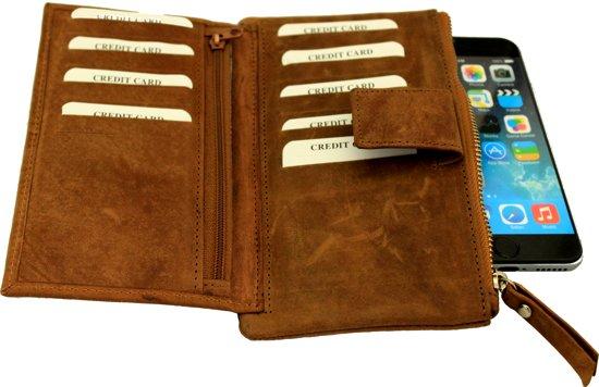 499ddf1eee1 Leren Dames Portemonnee in Bruin met heel veel vakjes voor creditcards .  Art. 1109A