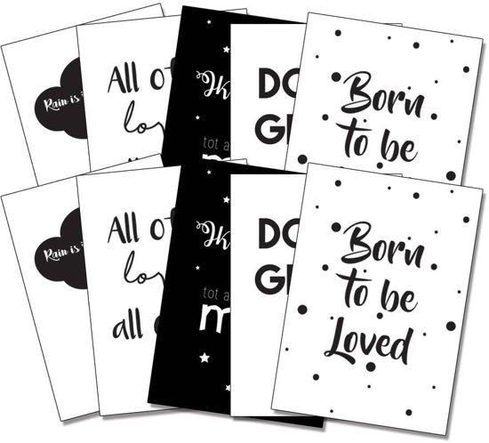 Zwart wit ansichtkaarten set DesignClaud - Wenskaarten - 10 stuks