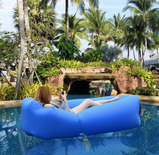 Opblaasbare Luchtbank - Inflatable couch - Luchtbank - AirSofa - Waterdicht | Strandbed/Strandzak - Kamperen - Blauw