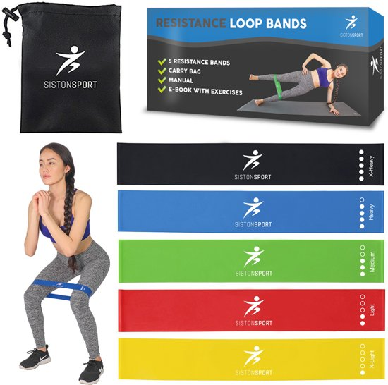 Siston Sport - 5 Weerstandsbanden Set - Inclusief E-Book (pdf) en Draagtas - Elastiek fitness - 5 PACK! Fitness elastiek - Fitnessband - Trainingsband - Gymnastiekband - resistance band - exercise bands - High quality latex