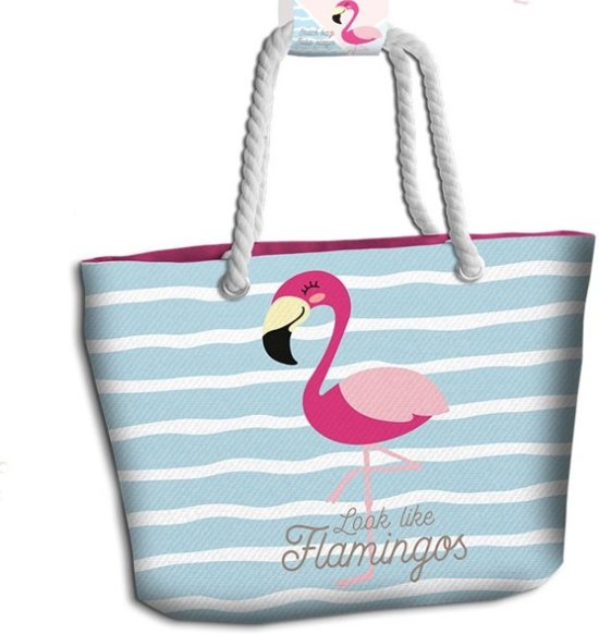 Flamingo Look Like Flamingos - Strandtas - 44 cm - Multi