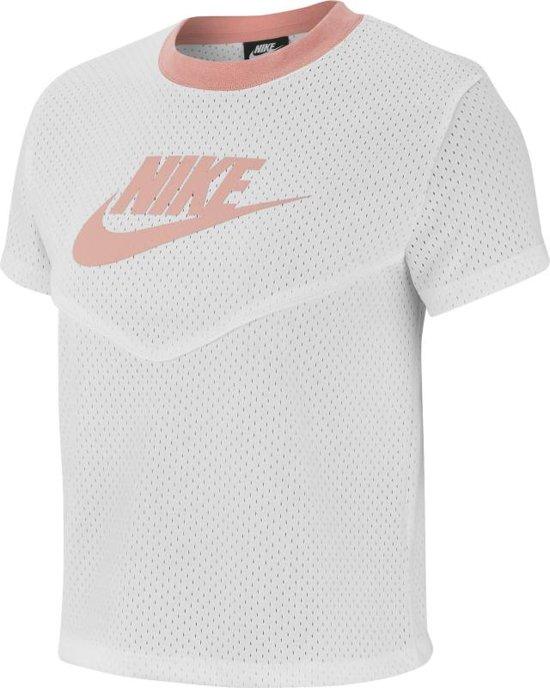 Nike Nsw Hrtg Top Ss Mesh Dames T-shirt - White/White/(Pink Quartz) - Maat M