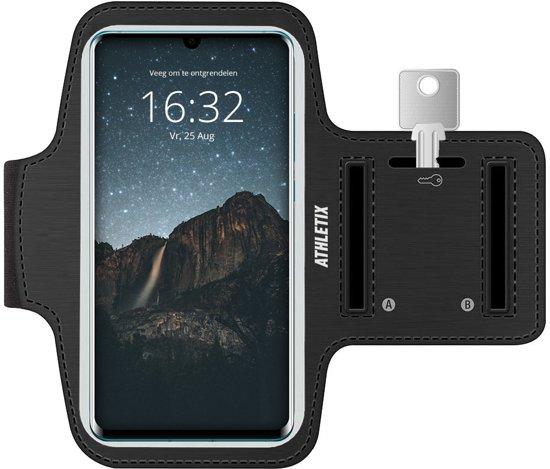 Hardloop armband met Smartphone houder - Zwarte Verstelbare Sportarmband voor Huawei P30 Pro / P30 / P20 Pro / P20 / P20 Lite /Mate X/Mate 20 / Mate 20 Pro / P10 / Y7 - Spatwatervrij, Sleutelhouder, Oordoppen Aansluiting en Reflecterend!