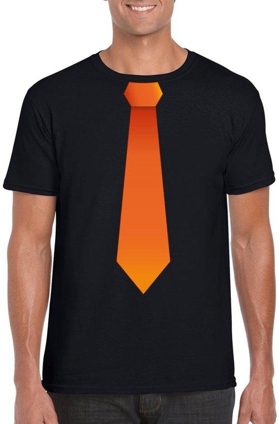 cb4233dc82bc69 Zwart t-shirt met oranje stropdas heren - Oranje Koningsdag  Holland  supporter kleding M