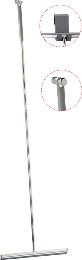 Vloerwisser RVS glans met 2 soorten ophanghaken / Trekker voor de douche
