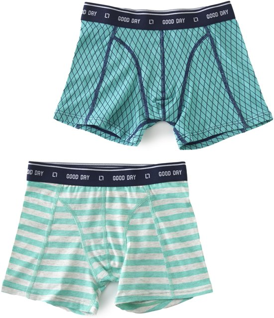 Little Label Jongens boxershorts (2-pack) - green blue argyle & stripes