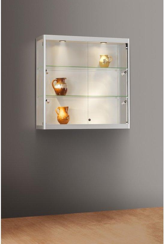 Glazen Wand Vitrinekast.Bol Com Luxe Vitrinekast Aluminium 100 Cm Wandkast Met Glas