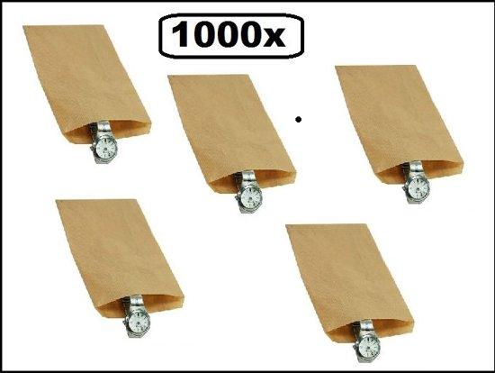 1000x Papieren zak kraft 15x22cm 40 gram bruin