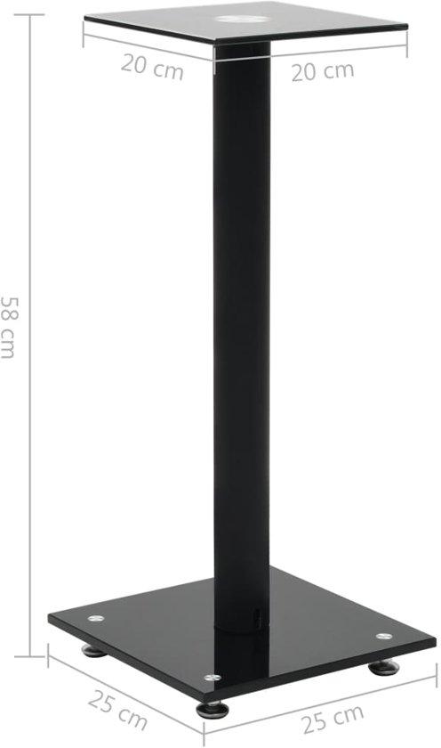 vidaXL Speakerstandaarden zuil-ontwerp gehard glas zwart 2 st