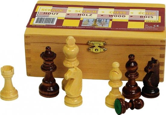 Afbeelding van het spel Abbey Game Schaakstukken - 76 mm - Zwart/Wit