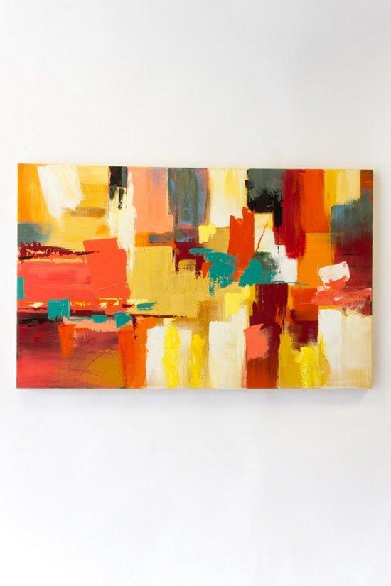 """olieverfschilderij op doek 75 bij 120 cm. """"abstract kleuren"""